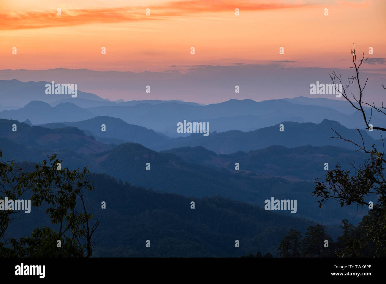 Layer mountain colorful at sunset,doi kiew lom,mae hong son,thailand - Stock Image