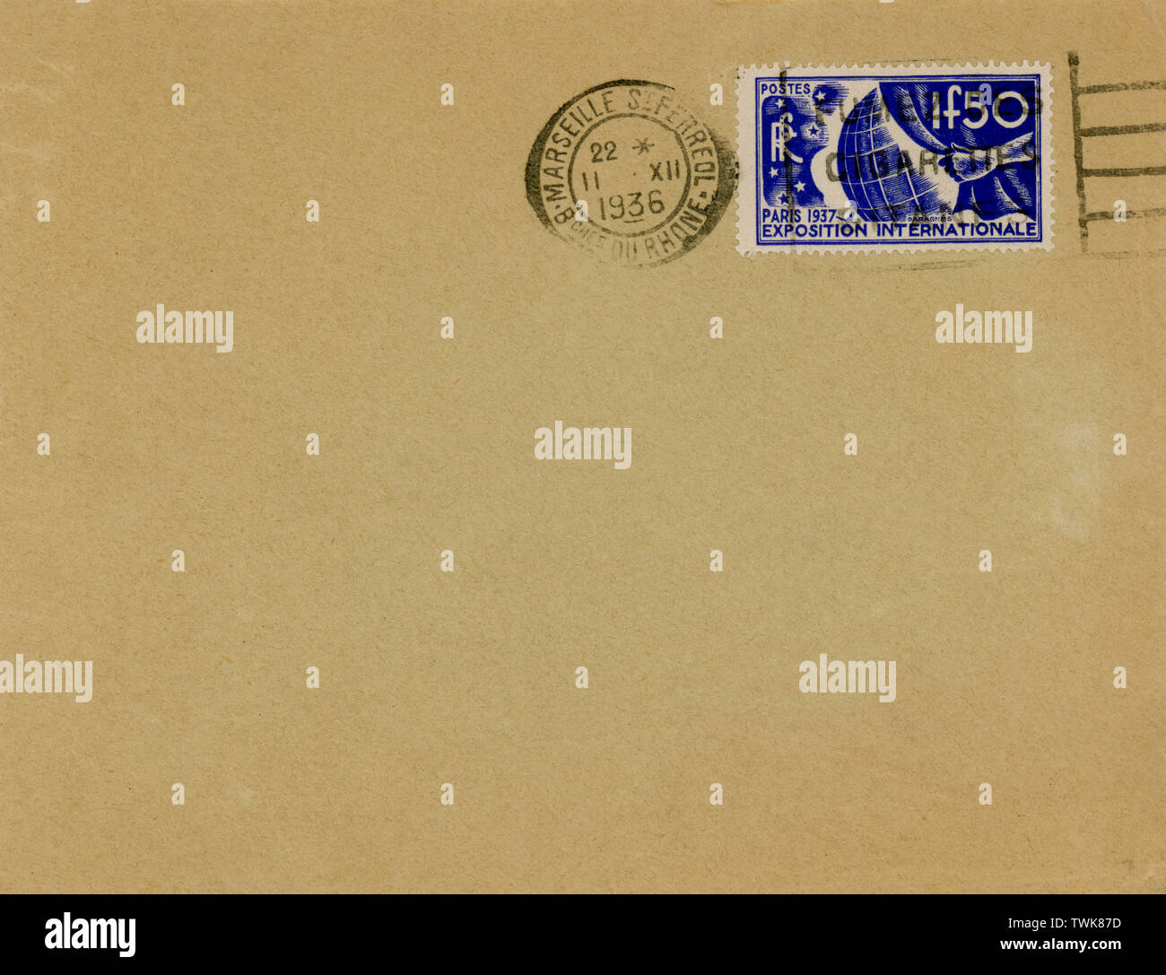 Vintage Air Mail Envelope : with stamps, marks and postal elements. - Stock Image