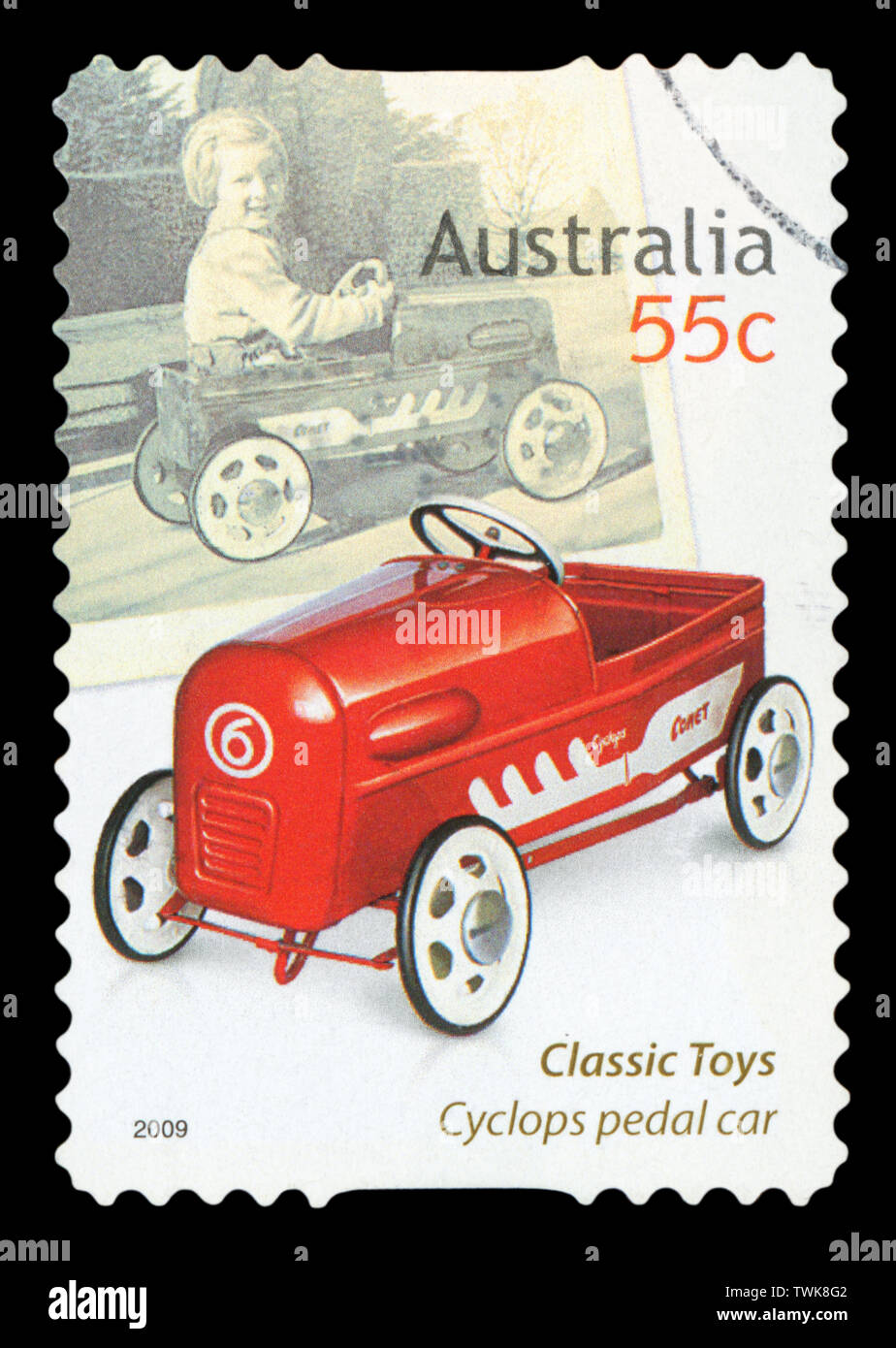 AUSTRALIA - CIRCA 2009: A stamp printed in Australia dedicated to classic toys, shows Cyclops pedal car, circa 2009. - Stock Image