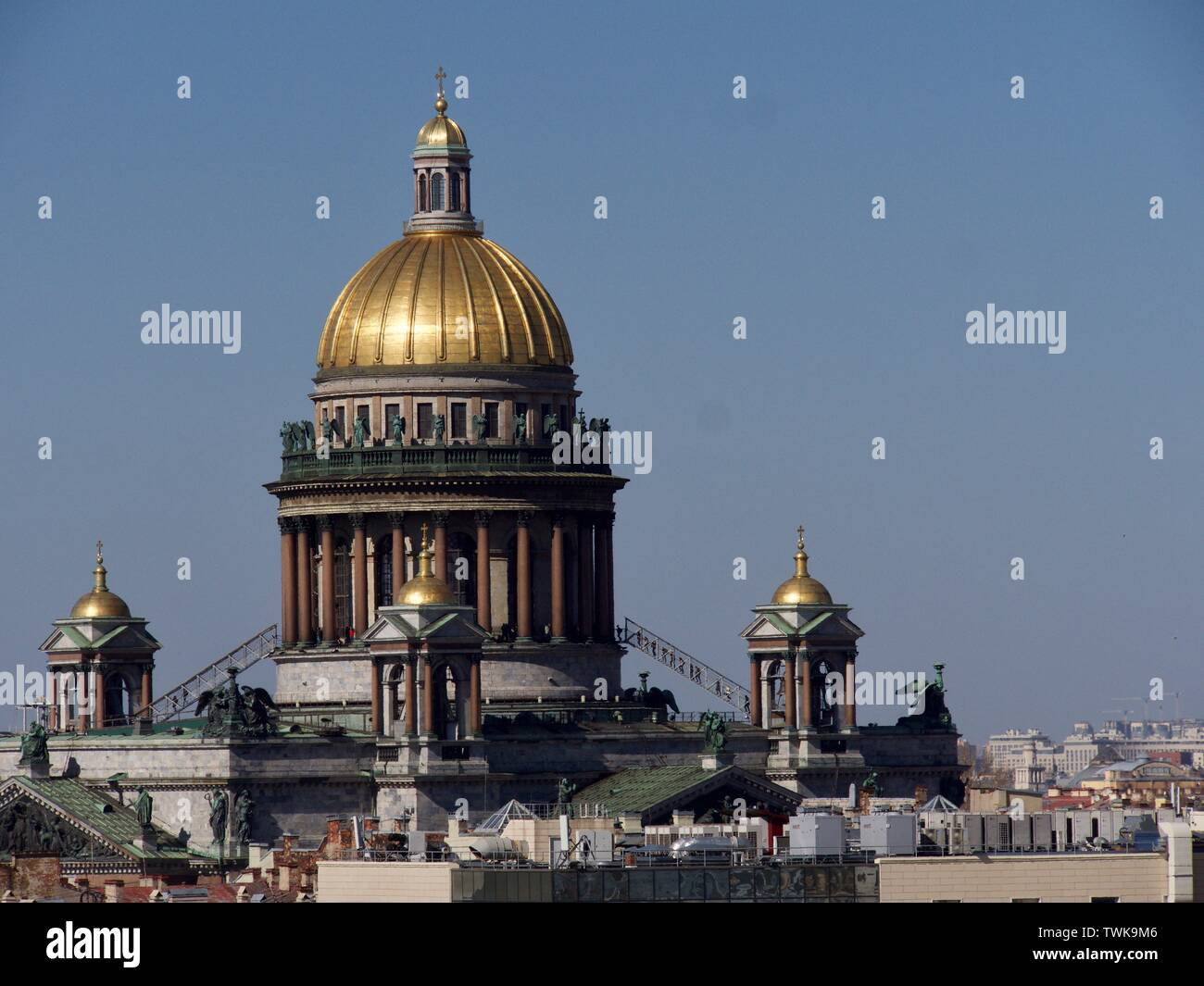 PETERSBURG, St Isaac's Square It is one of the main city famouse place St Isaac's Cathedral, is near Nevsky Prospect - Stock Image