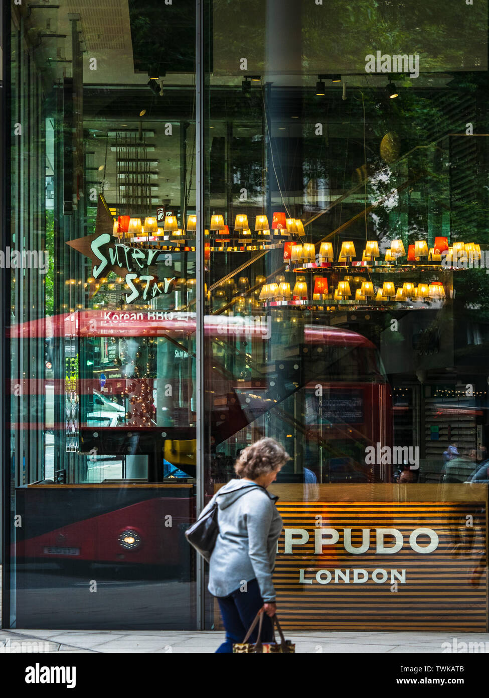 IPPUDO London Ramen Restaurant at Central St GIles in Central London. IPPUDO is a japanese Ramen chain founded in 1985 - Stock Image