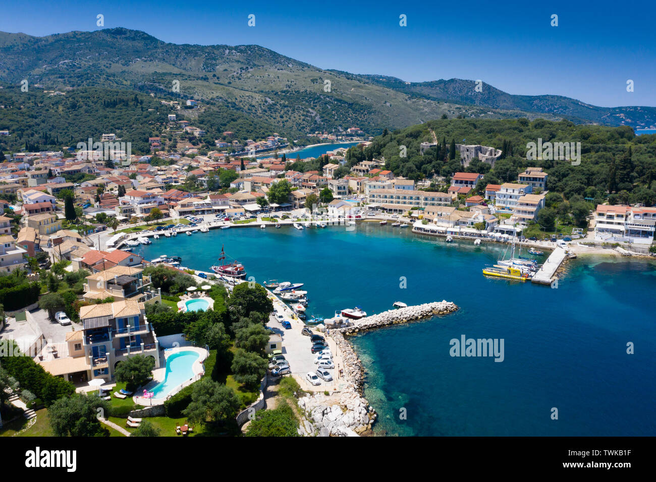 Aerial view of Kassiopi harbour Corfu Greece - Stock Image