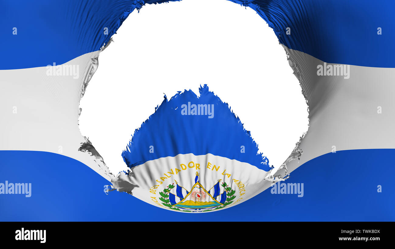 Big hole in El Salvador flag - Stock Image