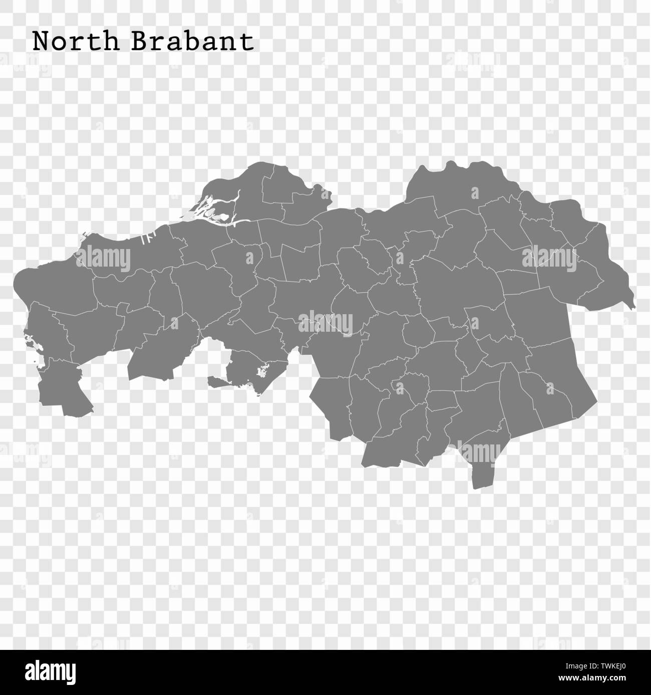 High Quality map of North Brabant is a province of Netherlands, with borders of the Municipalities - Stock Vector