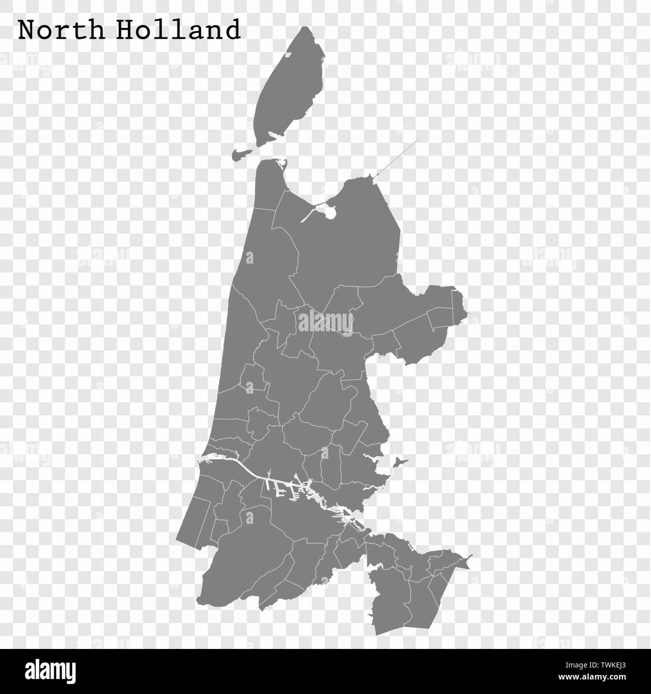 High Quality map of North Holland is a province of Netherlands, with borders of the Municipalities - Stock Vector