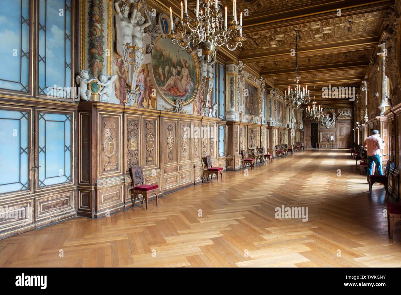 Francois I Gallery in Château de Fontainebleau, Seine-et-Marne, Île-de-France region of France - Stock Image