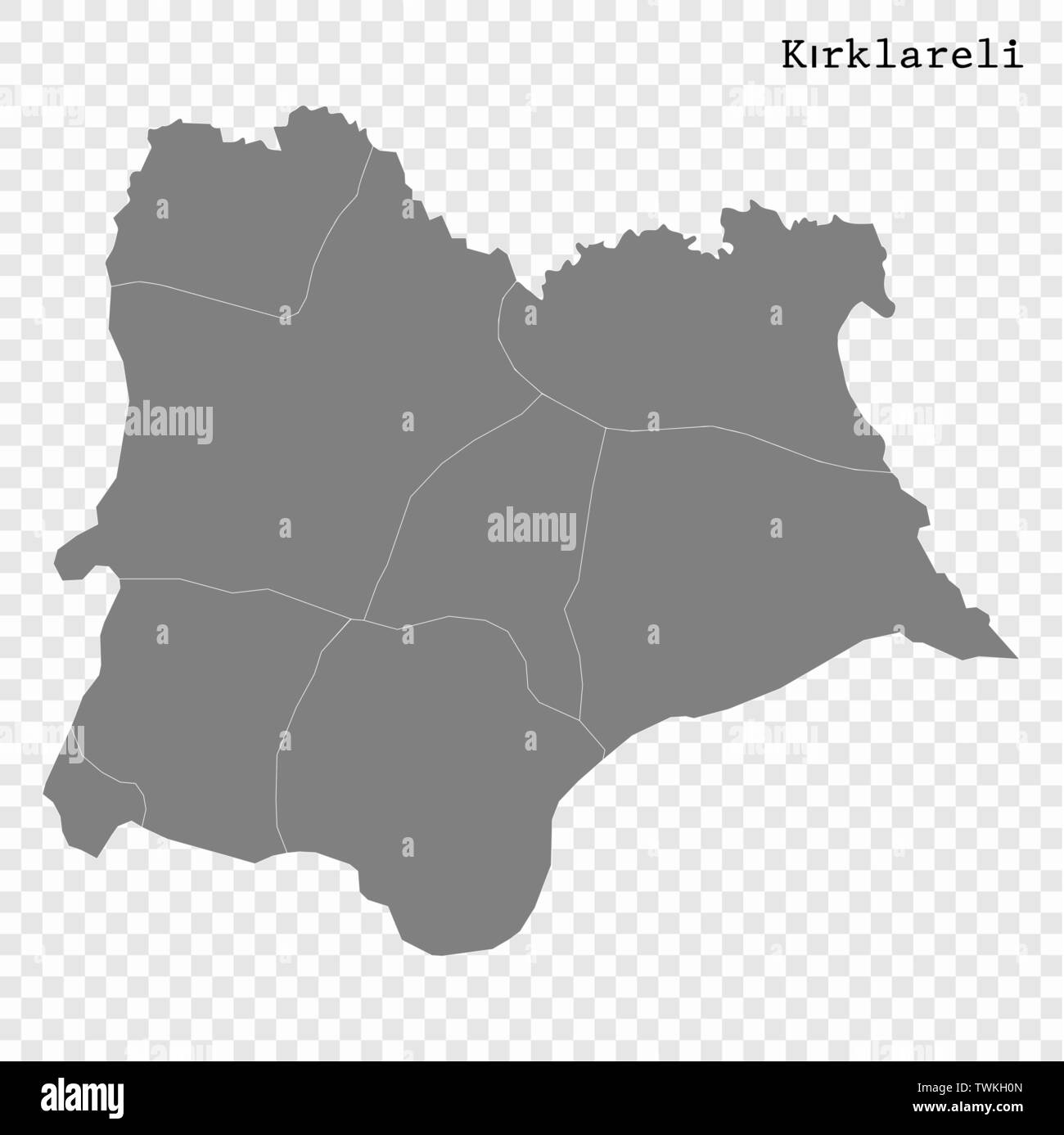 High Quality map of Kirklareli is a province of Turkey, with ...