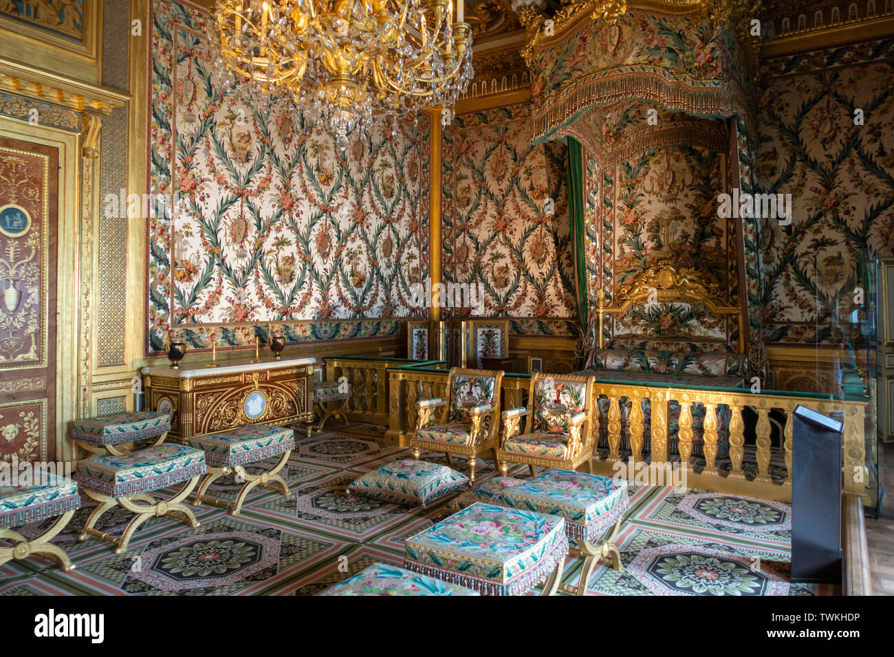 The Queen's and the Empress's Bedchamber in Château de Fontainebleau, Seine-et-Marne, Île-de-France region of France - Stock Image