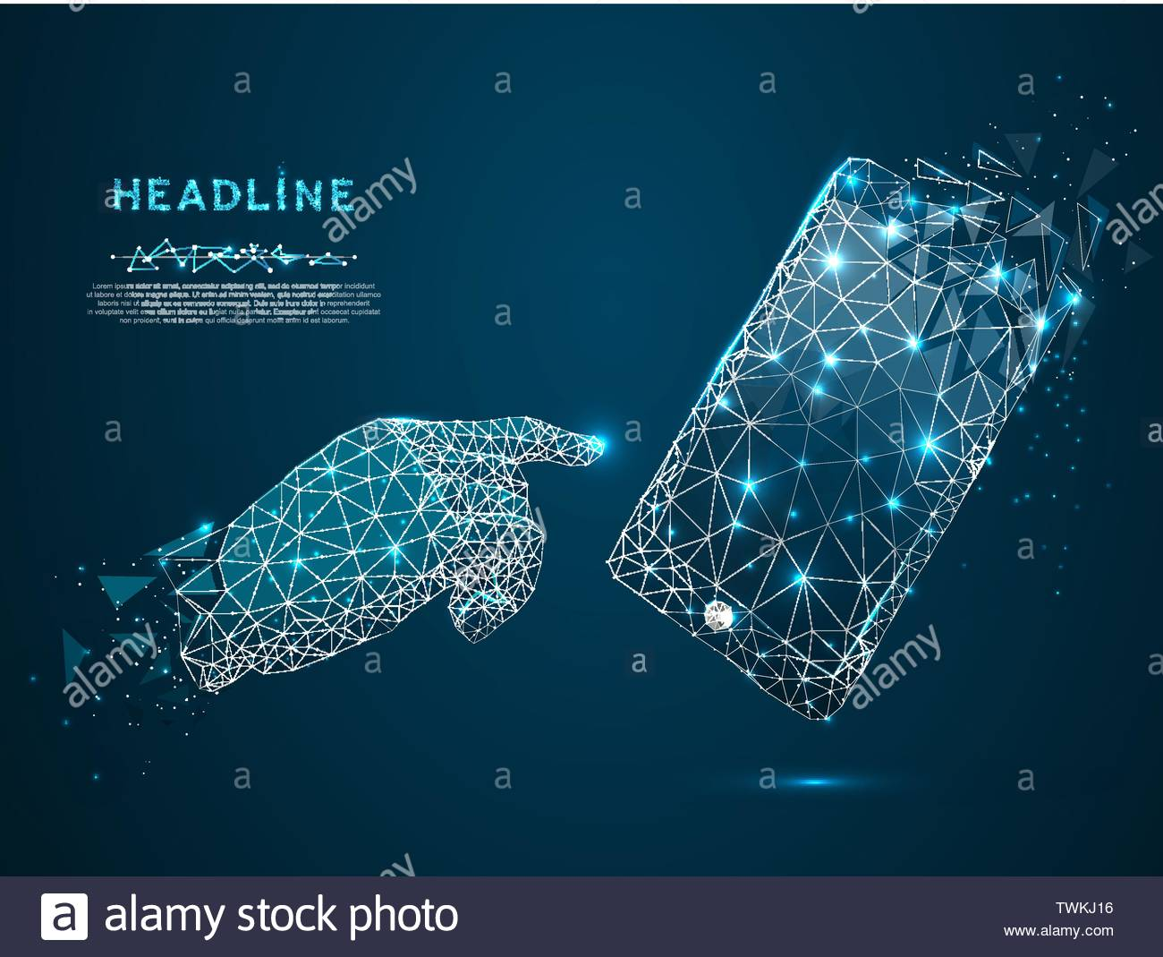 Mobile phone. Vector polygonal wireframe mobile phone with a gradient dark blue screen, man hand pointing in it. Illustration blue background. Communi - Stock Vector
