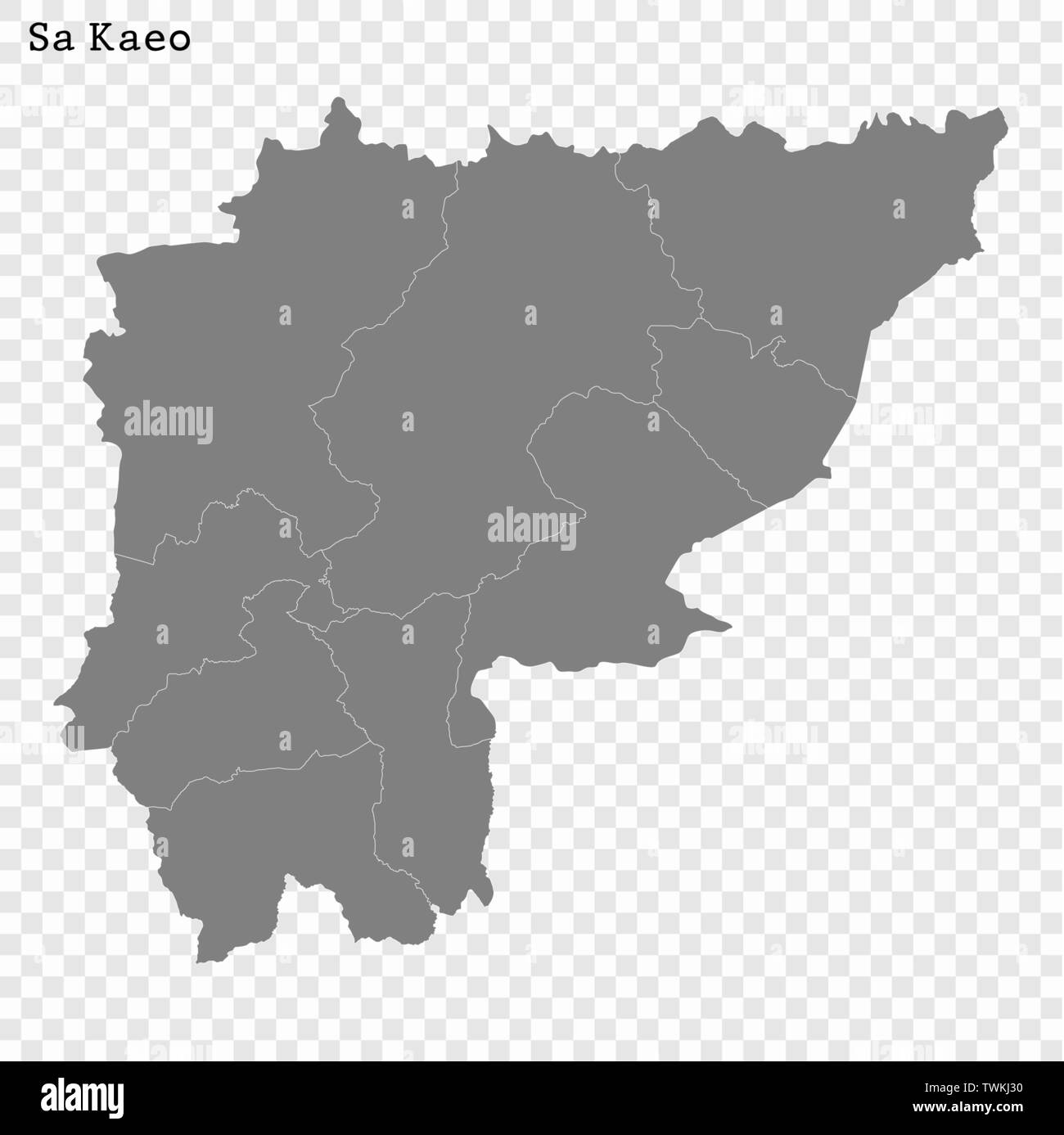 High Quality map of Sa Kaeo is a province of Thailand, with borders of the districts - Stock Vector