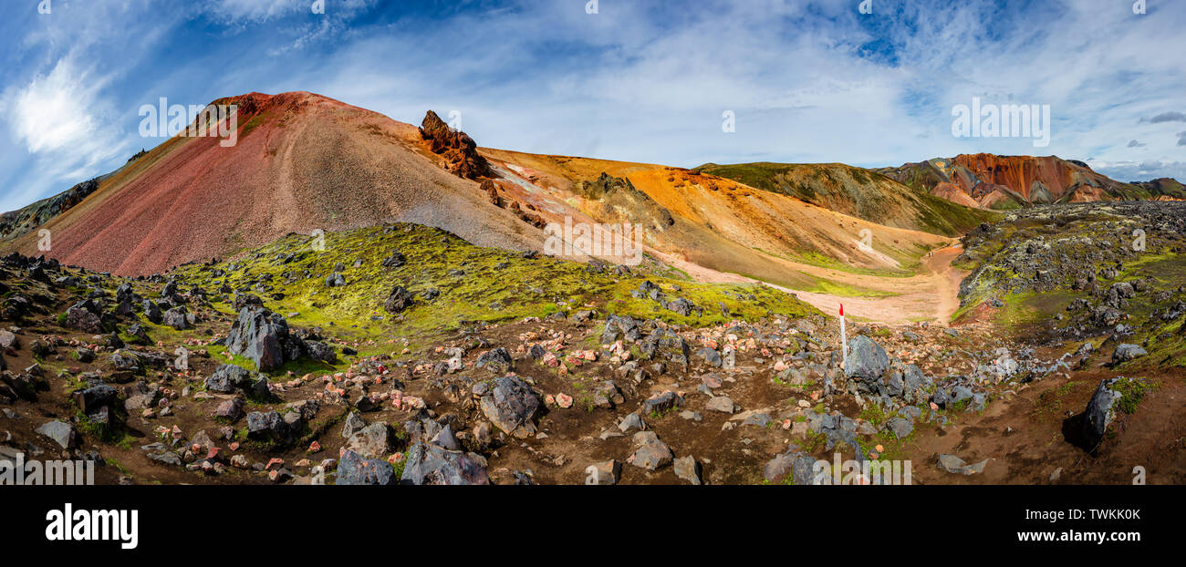 Panoramic view of the most colorful volcanic mount Brennisteinsalda ( Sulphur Wave) in Landmannalaugar region and lava field called Laugahraun with hi - Stock Image
