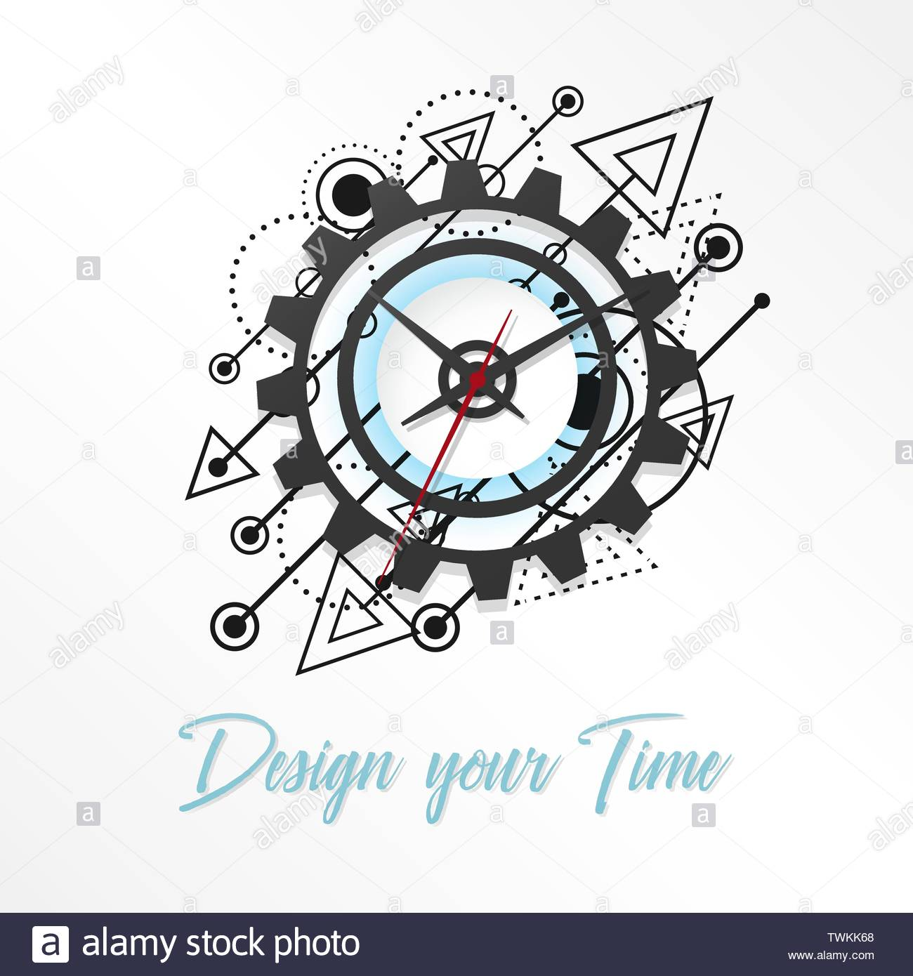 Abstract futuristic Clock concept design and Time gear, vector illustration - Stock Image
