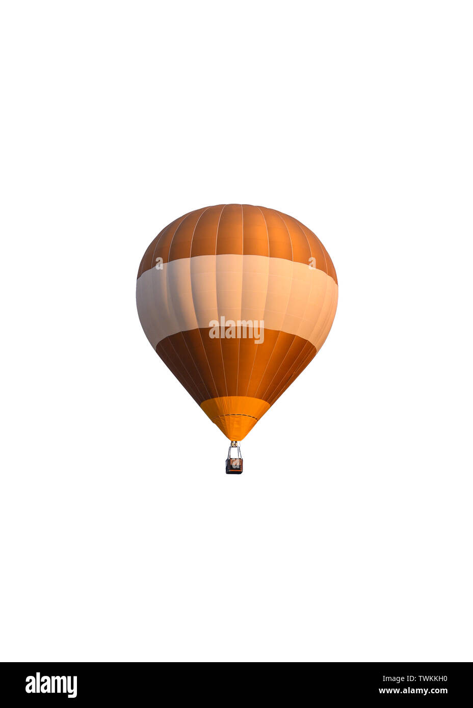 Golden white hot air balloon with basket. isolated on white background - Stock Image