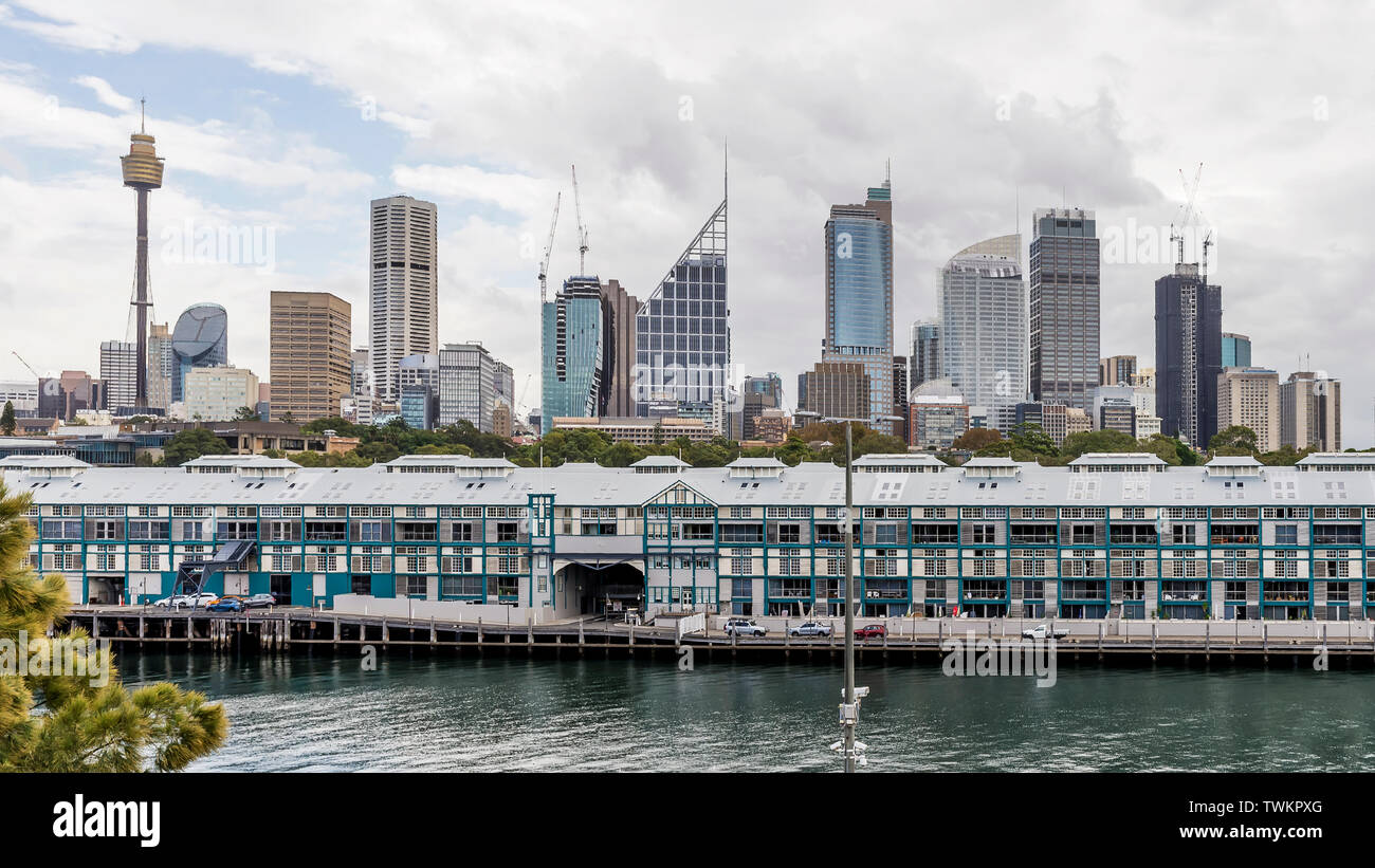 The beautiful skyline of central Sydney, Australia, seen from the Embarkation Park - Stock Image