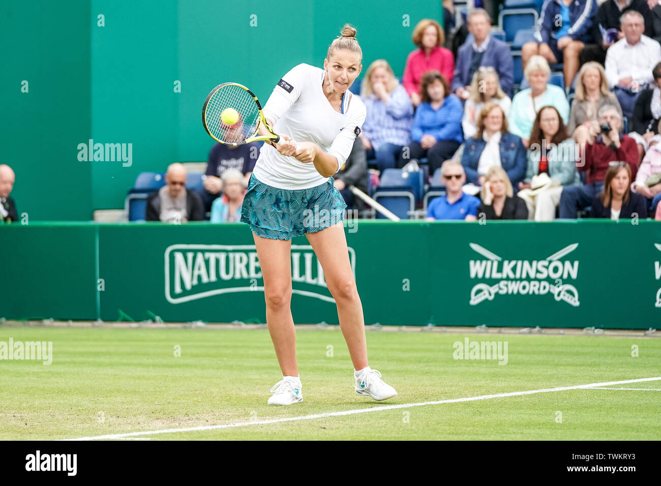 Edgbaston Priory Club, Birmingham, UK. 21st June, 2019. WTA Nature Valley Classic tennis tournament; Kristyna Pliskova (CZE) hits a strong backhand in her quarterfinal match against Barbora Strycova (CZE) Credit: Action Plus Sports/Alamy Live News Stock Photo