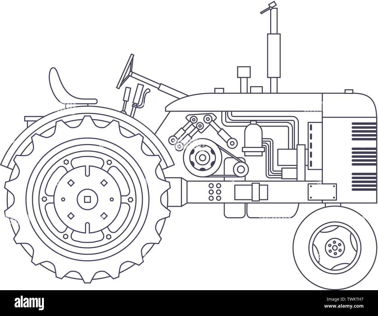 Vintage agricultural tractor isolated on white vackground. Vector illustration - Stock Vector