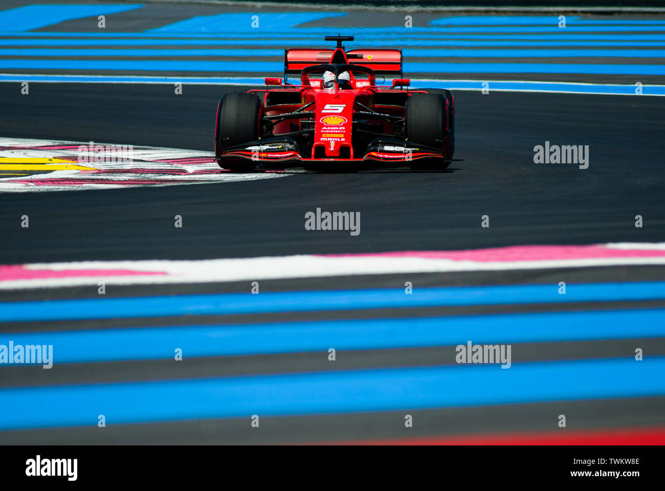 Marseille, France. 21st June 2019, Circuit Automobile Paul Ricard, Le Castellet, Marseille, France ; FIA Formula 1 Grand Prix of France, practise sessions; Sebastian Vettel of the Ferrari Team in action during free practice 1 Credit: Action Plus Sports Images/Alamy Live News Stock Photo