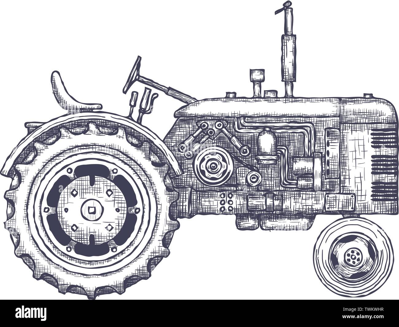 Vintage agricultural tractor, sketch. Hand drawn Vector illustration - Stock Vector