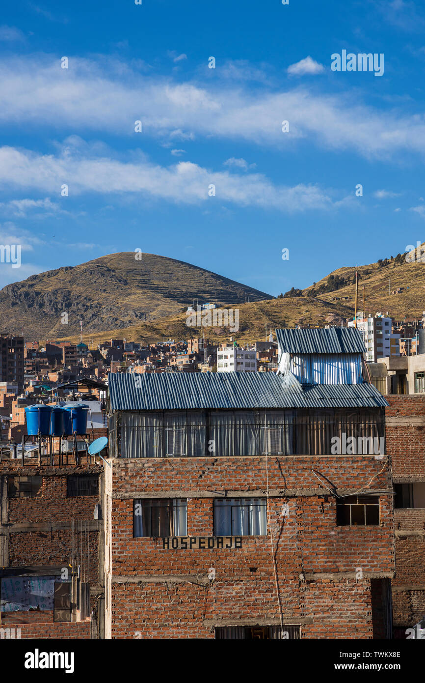 Views across the rooftops in Puno, Peru, South America, - Stock Image