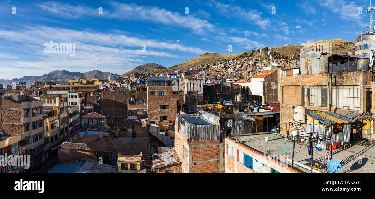 Views across the rooftops in Puno, Peru, South America, Stock Photo