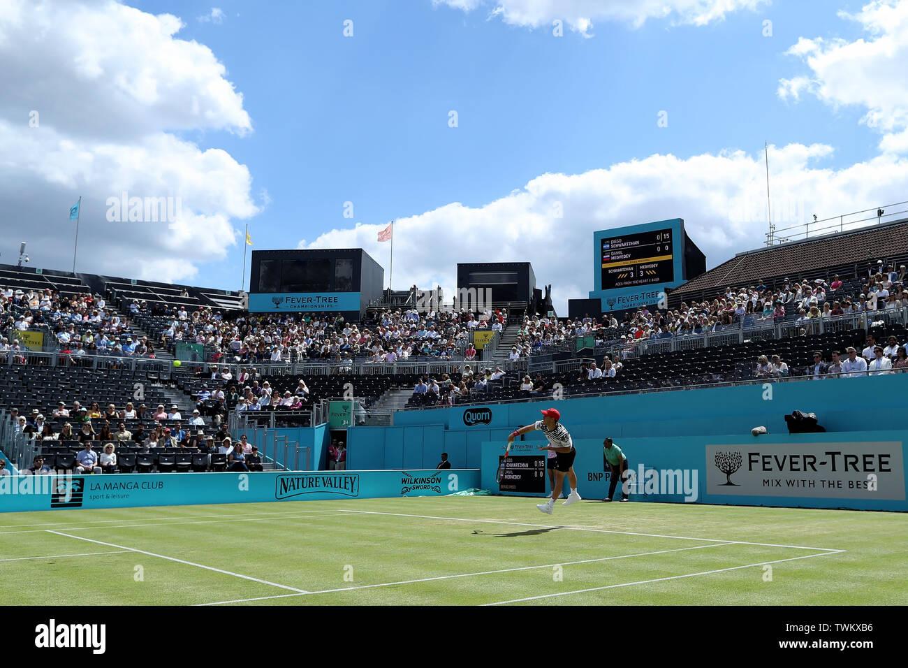 Queen Club, London, UK. 21st June, 2019. The ATP Fever-Tree Tennis Tournament; Diego Schwartzman (ARG) serves to Daniil Medvedev (RUS) Credit: Action Plus Sports/Alamy Live News Stock Photo