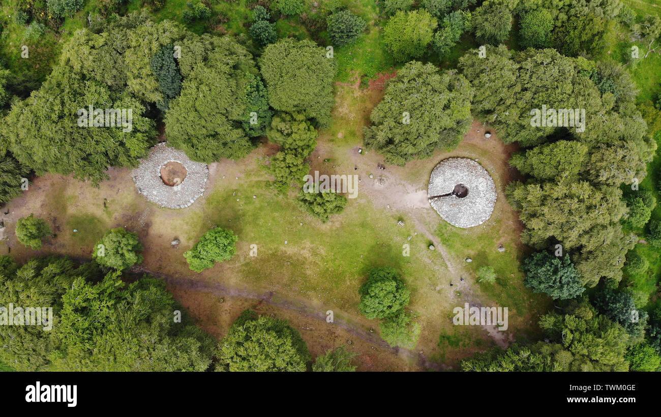 Inverness, UK, 21 June 2019. Clava Cairns locator general view GV. Credit: Andrew Smith - Stock Image