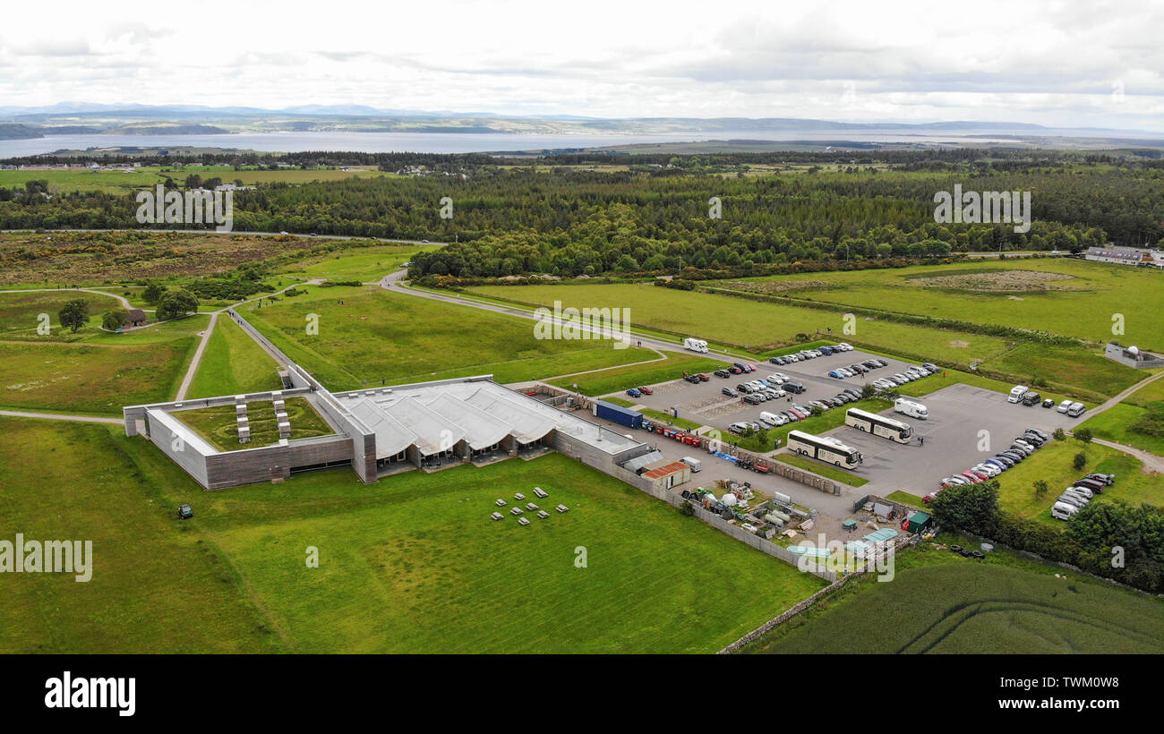 Inverness, UK, 21 June 2019. Culloden Battlefield locator general view GV. Image shows the visitor centre left, car park right, and the view towards the Beauly Firth. Credit: Andrew Smith - Stock Image
