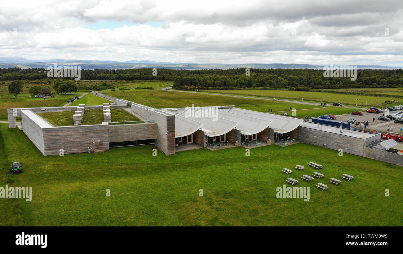 Inverness, UK, 21 June 2019. Culloden Battlefield locator general view GV. Image shows the visitor centre and the view towards the Beauly Firth. Credit: Andrew Smith - Stock Image