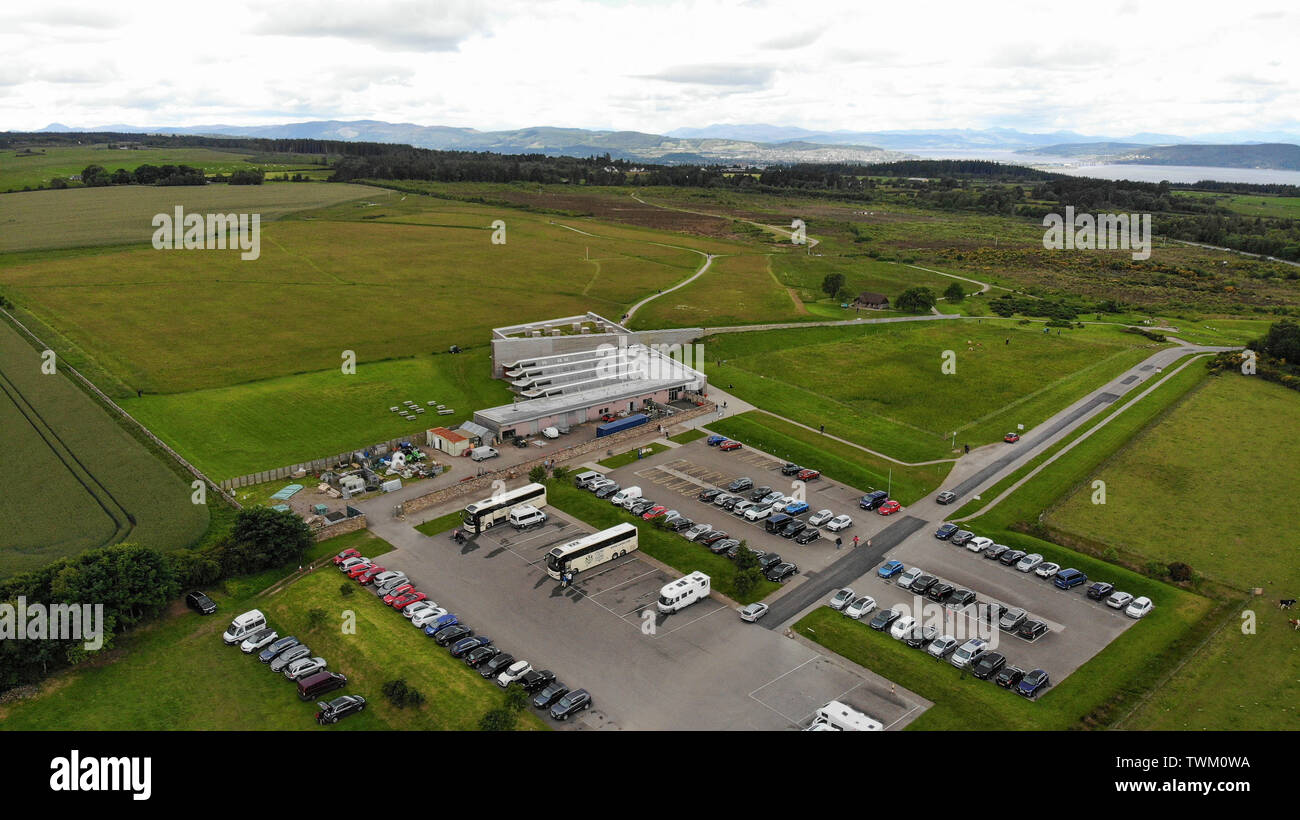 Inverness, UK, 21 June 2019. Culloden Battlefield locator general view GV. Image shows the visitor centre in the centre, the car park, and the battlefield. Credit: Andrew Smith - Stock Image