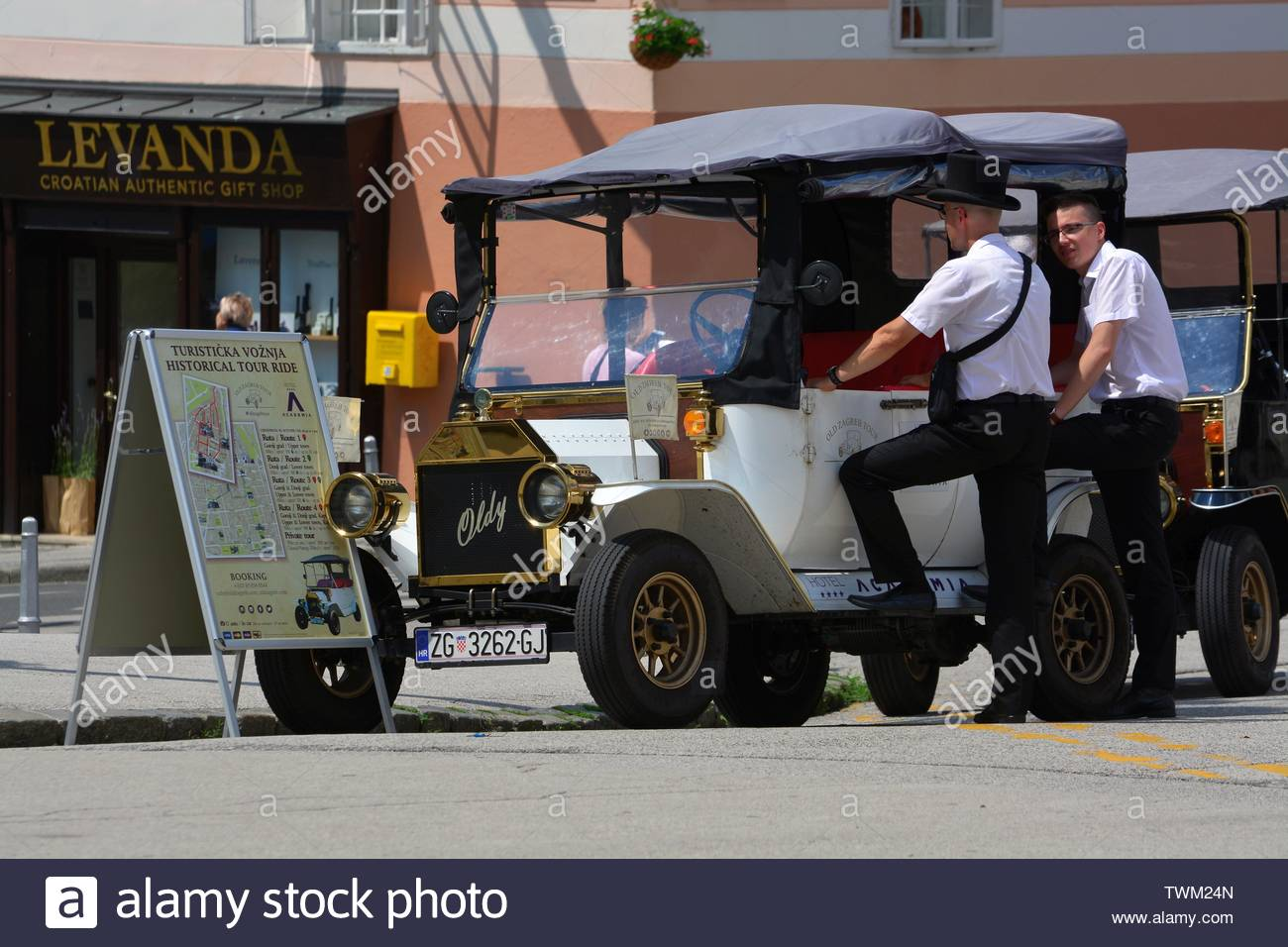 electric car for tourists in Zagreb,Croatia - Stock Image