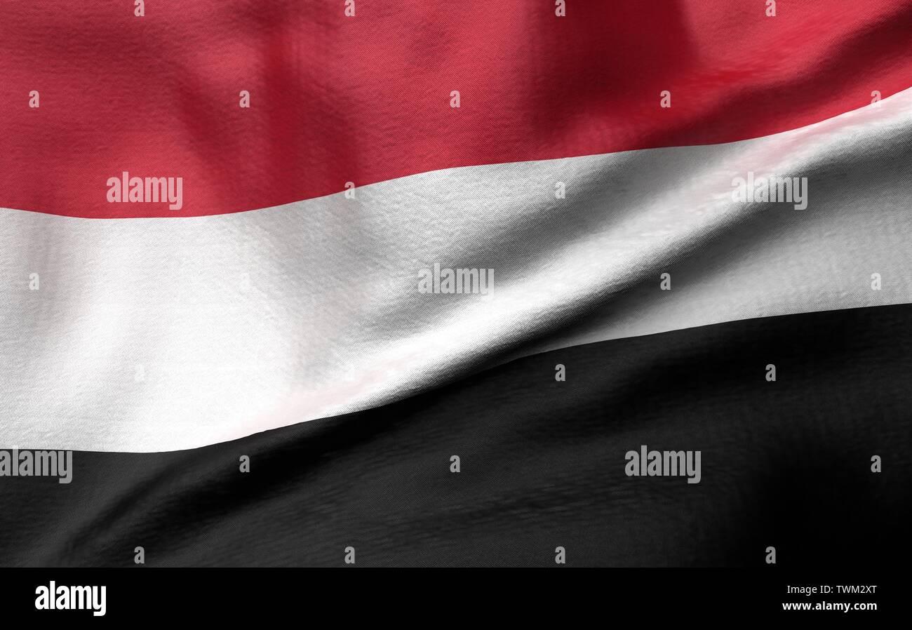 3D Illustration of Yemen Flag Stock Photo