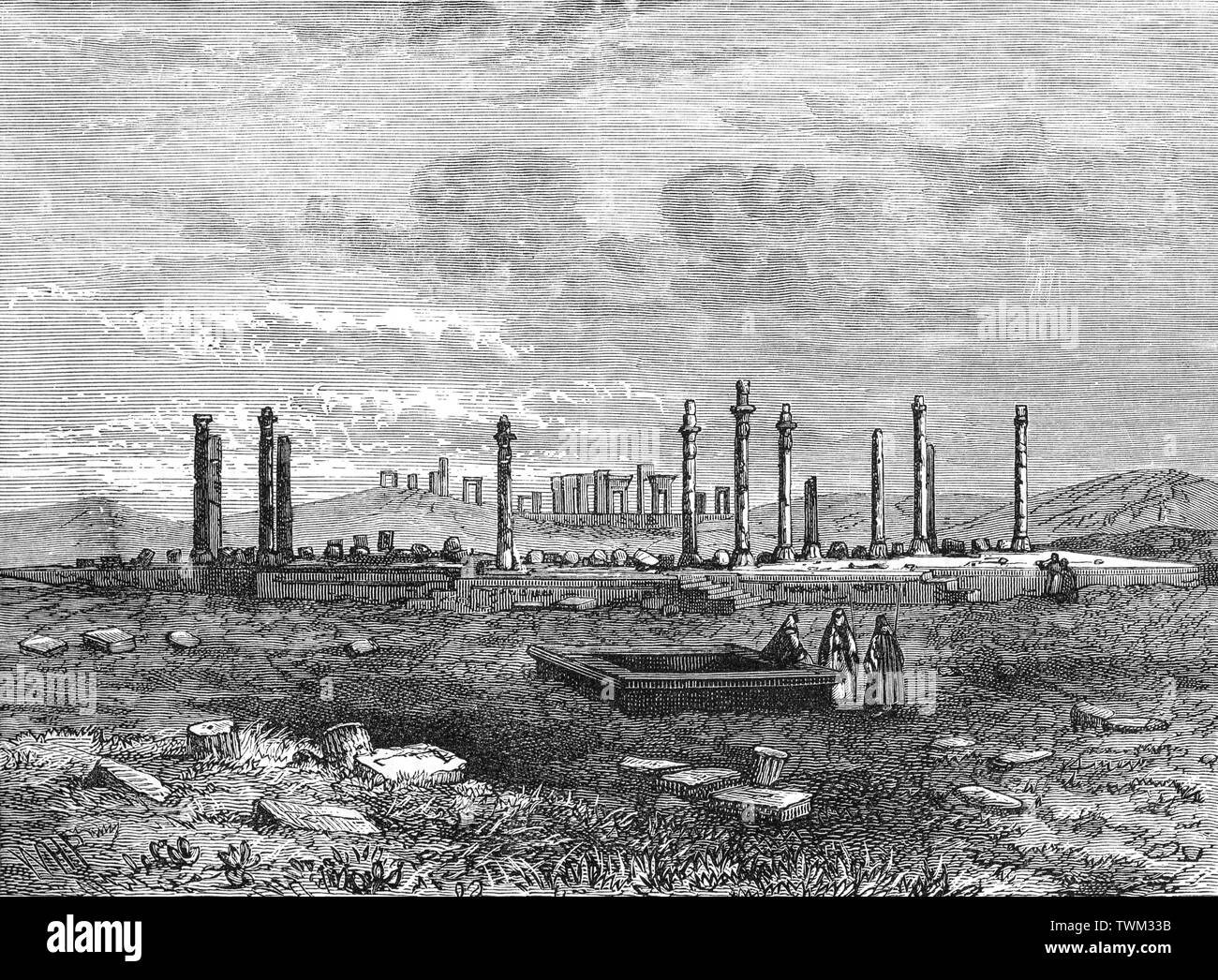 19th Century view of Persepolis  the ceremonial capital of the Achaemenid Empire (ca. 550–330 BCE), situated 60 km northeast of the city of Shiraz in Fars Province, Iran. After invading Achaemenid Persia in 330 BC, Alexander the Great sent the main force of his army to Persepolis and looted the city. It is not clear if the fire which destroyed Persepolis was an accident or a deliberate act of revenge for the burning of the Acropolis of Athens during the second Persian invasion of Greece. So, the destruction of Persepolis could be both an accident and a case of revenge. Stock Photo