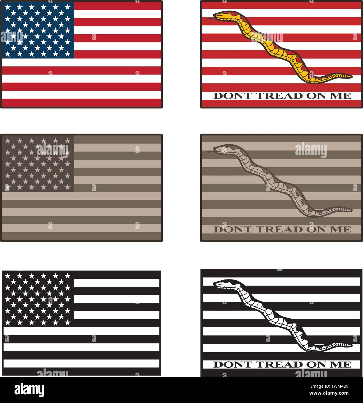 USA and Dont Tread On Me flag isolated vector illustration set in full color, desert camouflage tones, and black - Stock Vector