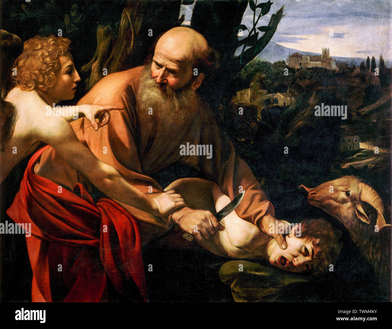 Caravaggio, Sacrifice of Isaac, painting, circa 1603 - Stock Image