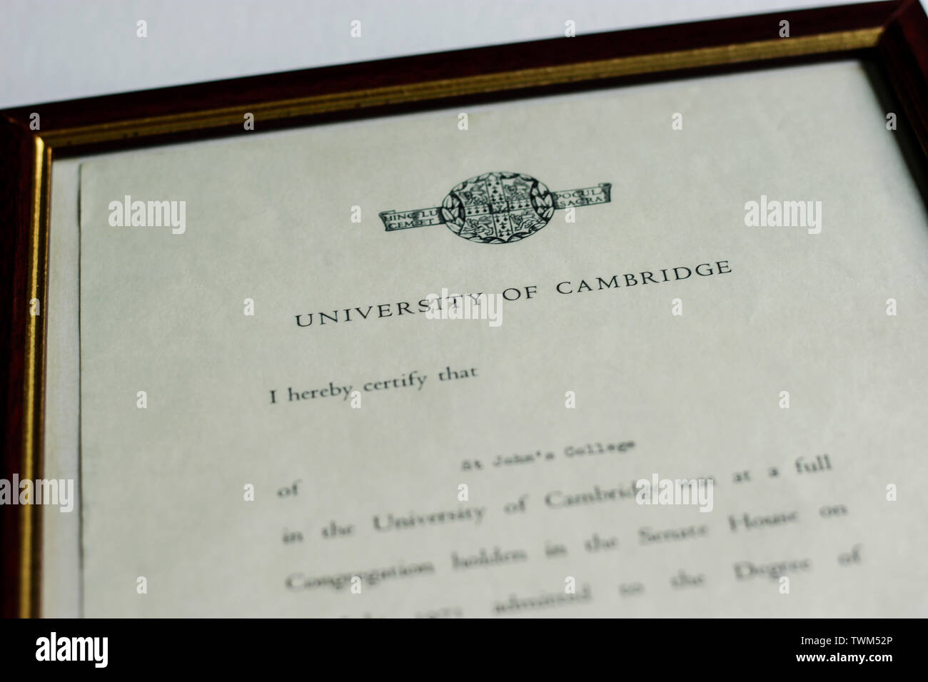 31 July 1971, England, United Kingdom. Certificate of Attaining MA, Master of Arts in the University of Cambridge. Senate House, St John's College - Stock Image