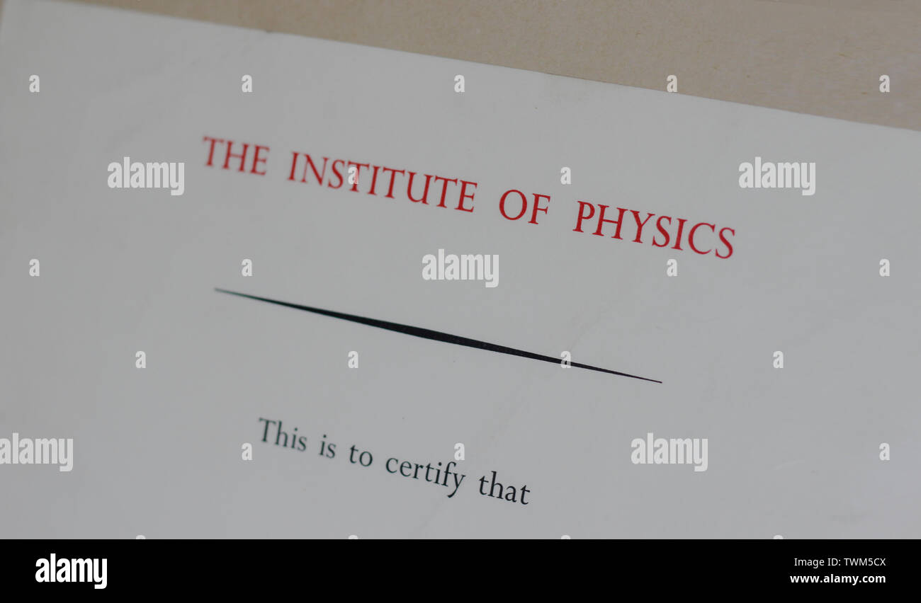 2 May 1972, England, United Kingdom. Certificate/Diploma of Member The Institute of Physics in the University of Cambridge. - Stock Image