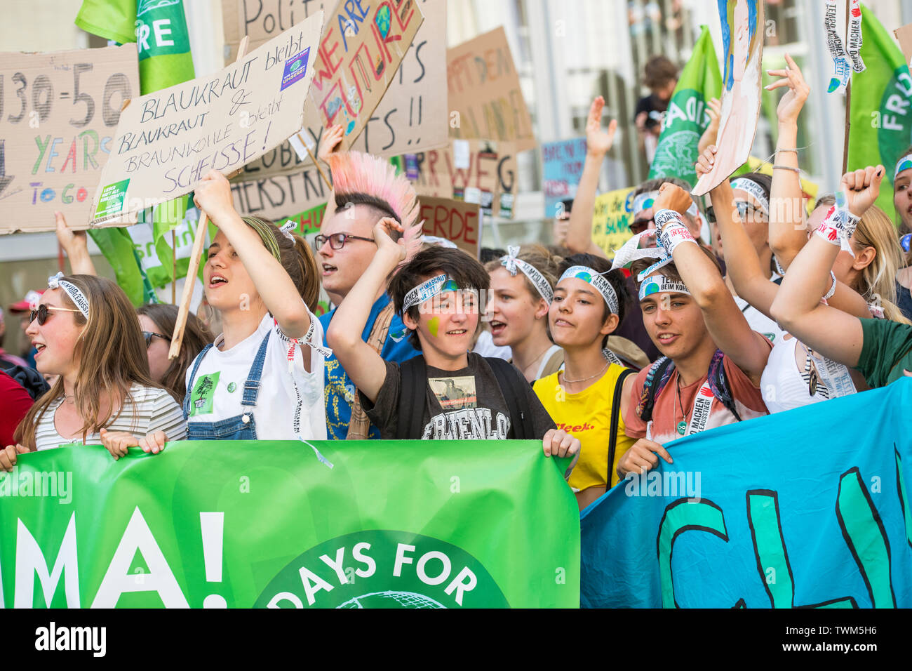 """""""Fridays for Future"""" demonstration in Aachen, germany at 21 of 2019. Stock Photo"""