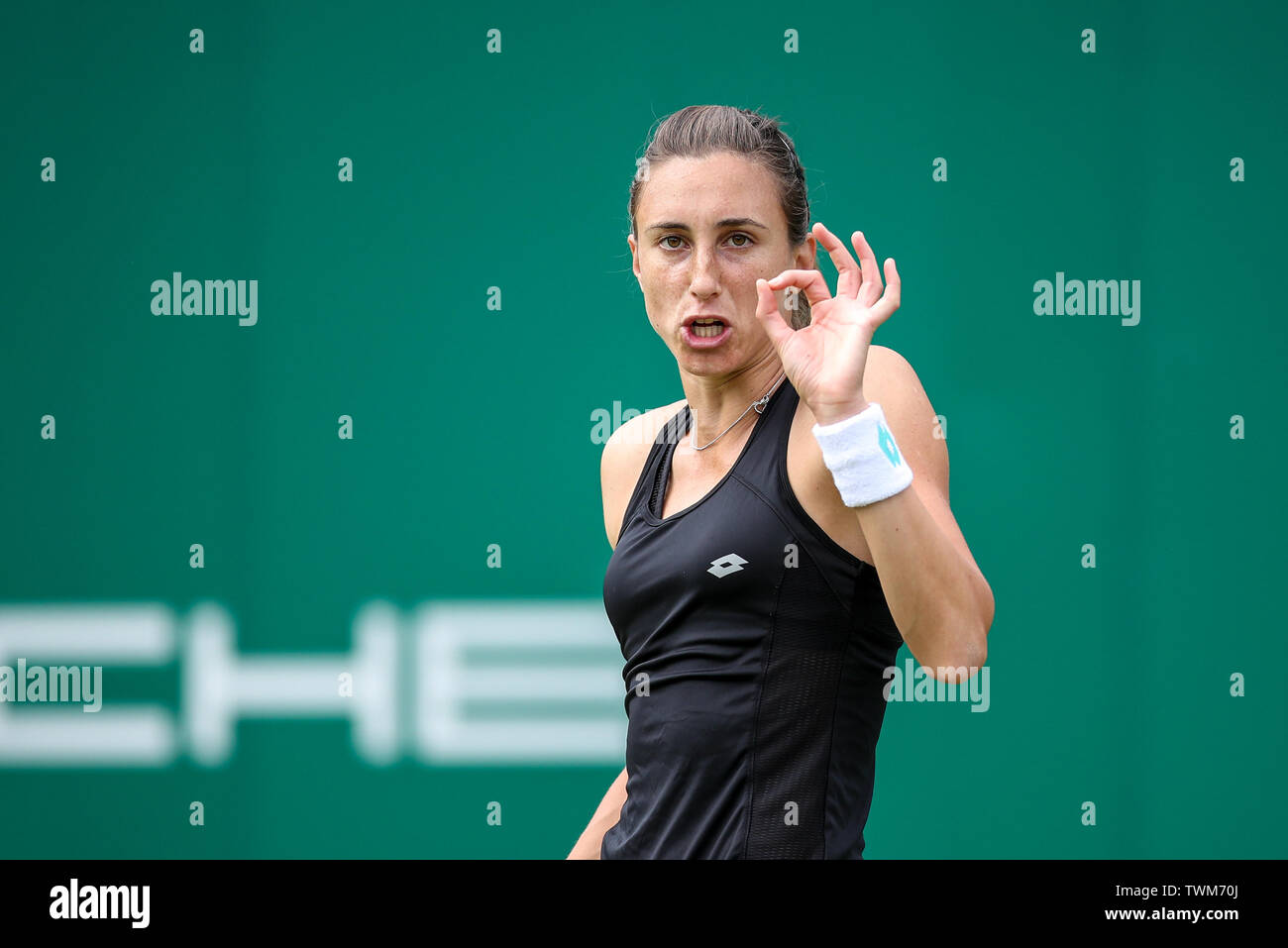 Edgbaston Priory Club, Birmingham, UK. 21st June, 2019. WTA Nature Valley Classic tennis tournament; Petra Martic (CRO) signals to her coach in her quarterfinal match against Jelena Ostapenko (LAT) Credit: Action Plus Sports/Alamy Live News Stock Photo