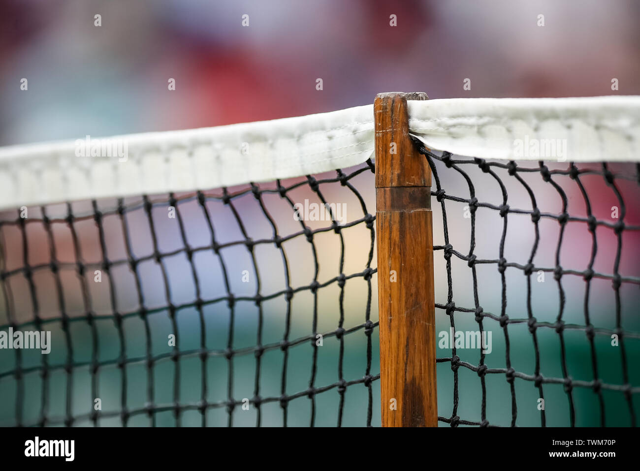 Edgbaston Priory Club, Birmingham, UK. 21st June, 2019. WTA Nature Valley Classic tennis tournament; The support post of the net on centre court Credit: Action Plus Sports/Alamy Live News Stock Photo