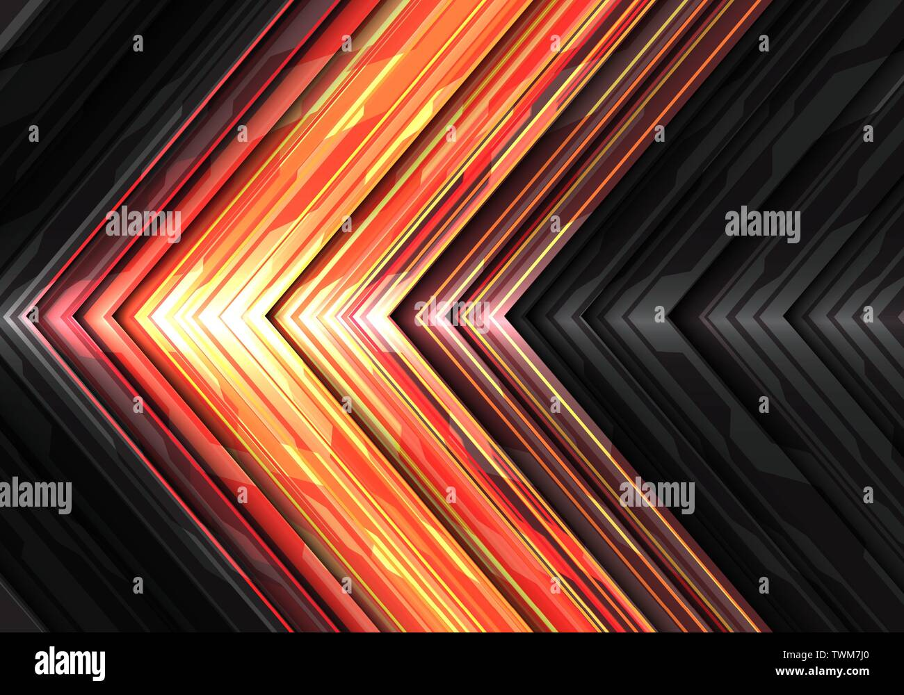 Abstract Red Yellow Light Power Arrow Data System Direction