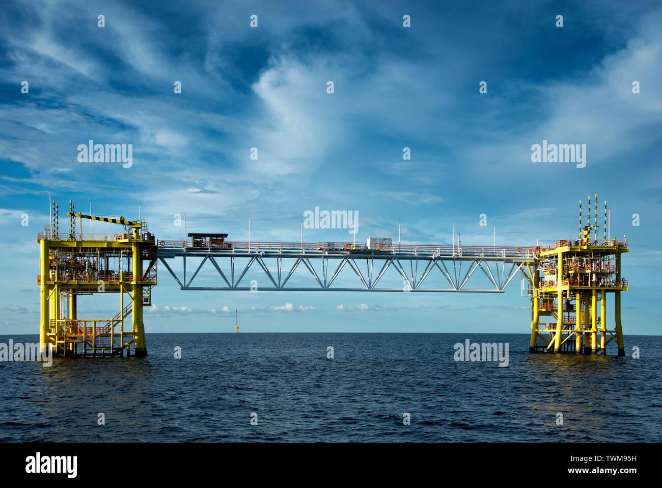 two jacket platform with bridge at south china sea - Stock Image