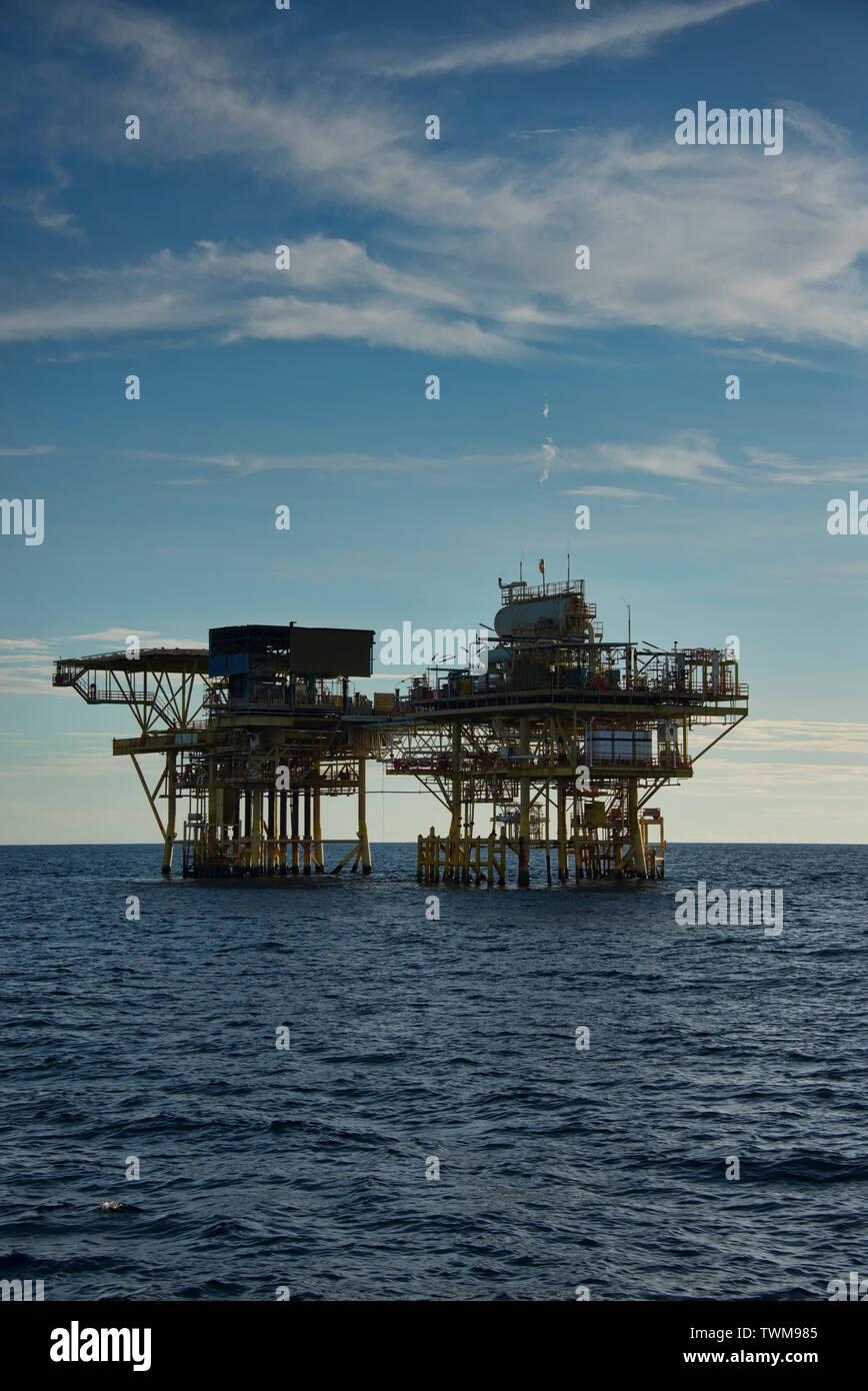 oil platform or jacket platform at south china sea during afternoon - Stock Image