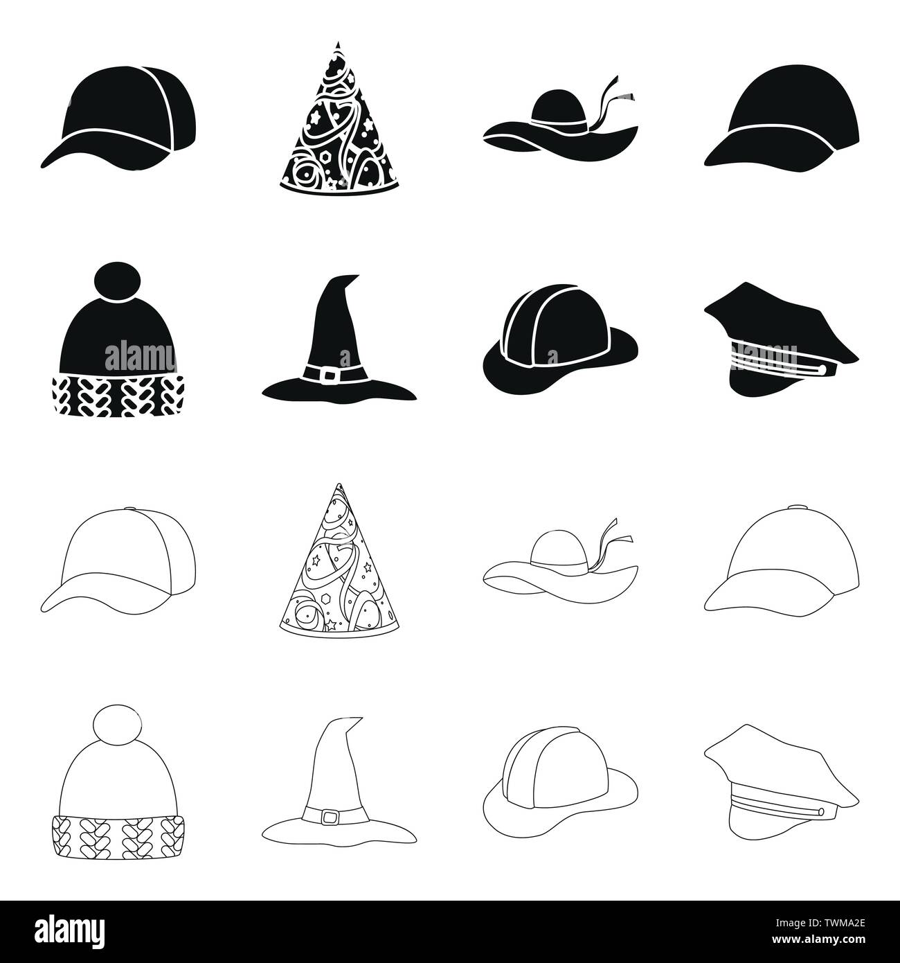 Vector illustration of clothing and cap sign. Set of clothing and beret vector icon for stock. - Stock Vector