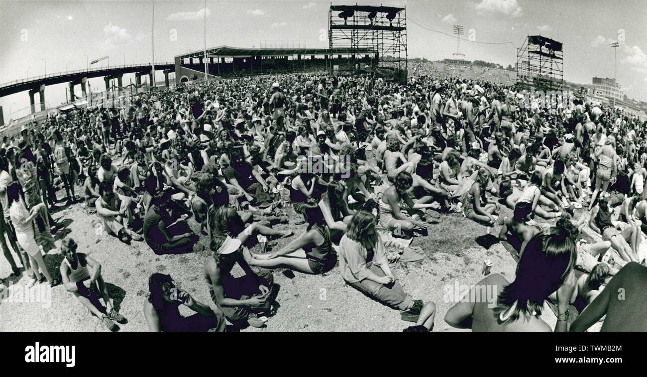 Davenport, Iowa, USA. 21st June, 2019. Davenport, Iowa's John O'Donnell Stadium was the location for the Mississippi River Jam events in the 1970's. Credit: Kevin E. Schmidt/Quad-City Times/ZUMA Wire/Alamy Live News - Stock Image