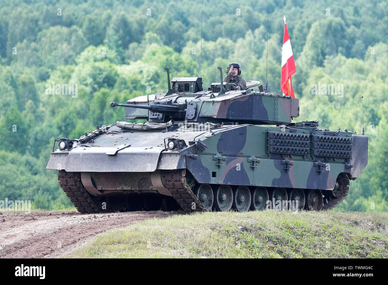 Strasice, Czech Republic. 21st June, 2019. Austrian Army's Ascod Ulan fighting vehicle was presented during the Ground Force Day Bahna 2019, presentation of military equipment and activities, at former Brdy military training grounds in Strasice, Czech Republic, on June 21, 2019. Credit: Miroslav Chaloupka/CTK Photo/Alamy Live News - Stock Image