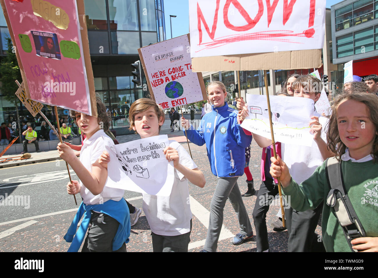 Manchester, UK, 21st June, 2019.School students strike for climate march to Manchester University calling for them to divest from funding organisations that contribute to climate change.  Manchester.  Credit: Barbara Cook/Alamy Live News Stock Photo