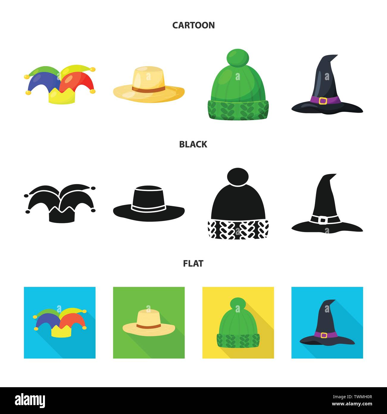 Vector illustration of clothing and cap sign. Collection of clothing and beret stock symbol for web. - Stock Vector