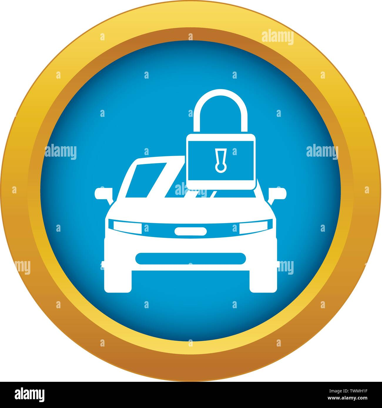 Car with padlock icon blue vector isolated - Stock Image