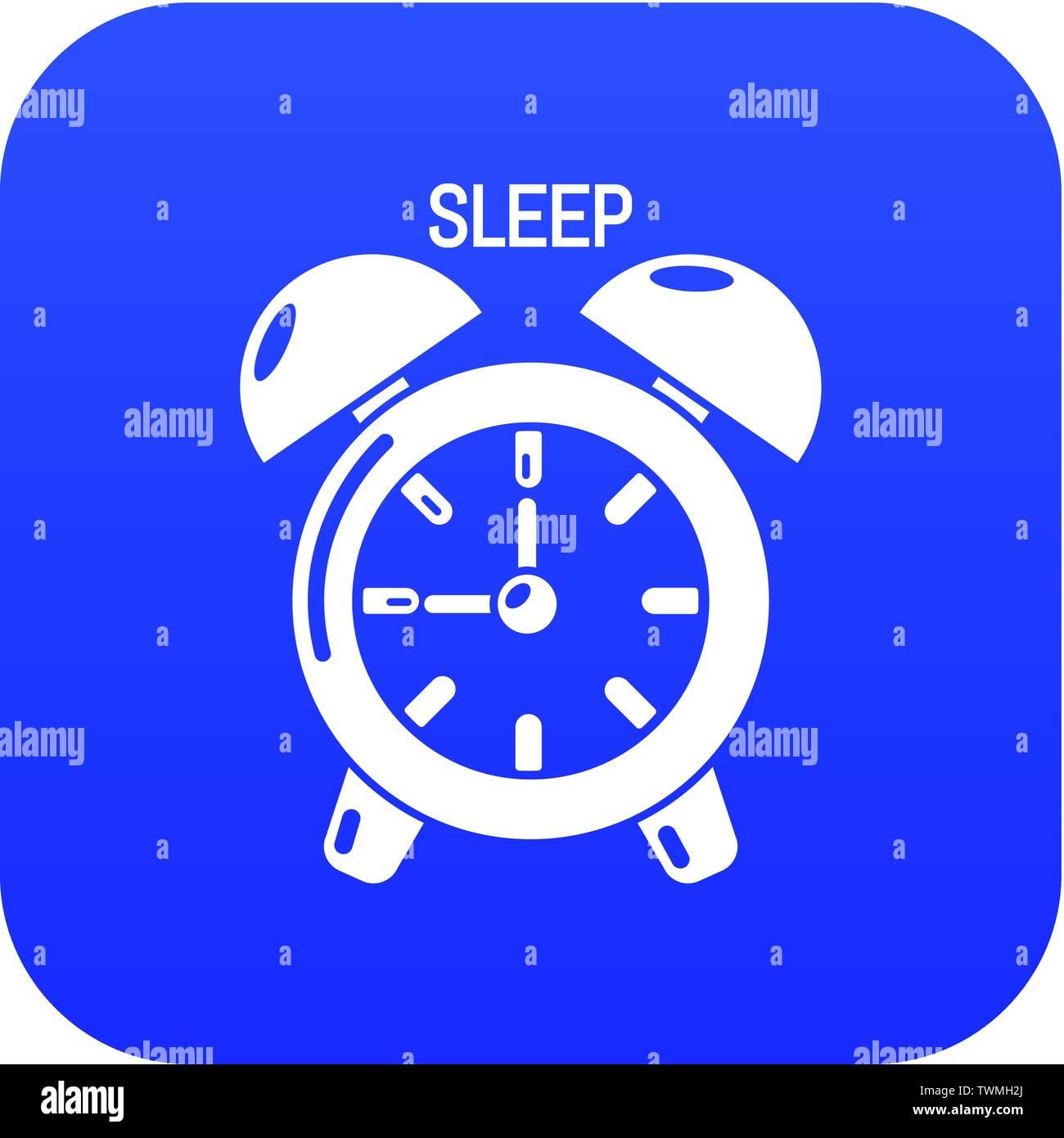 Alarm clock icon blue vector - Stock Image
