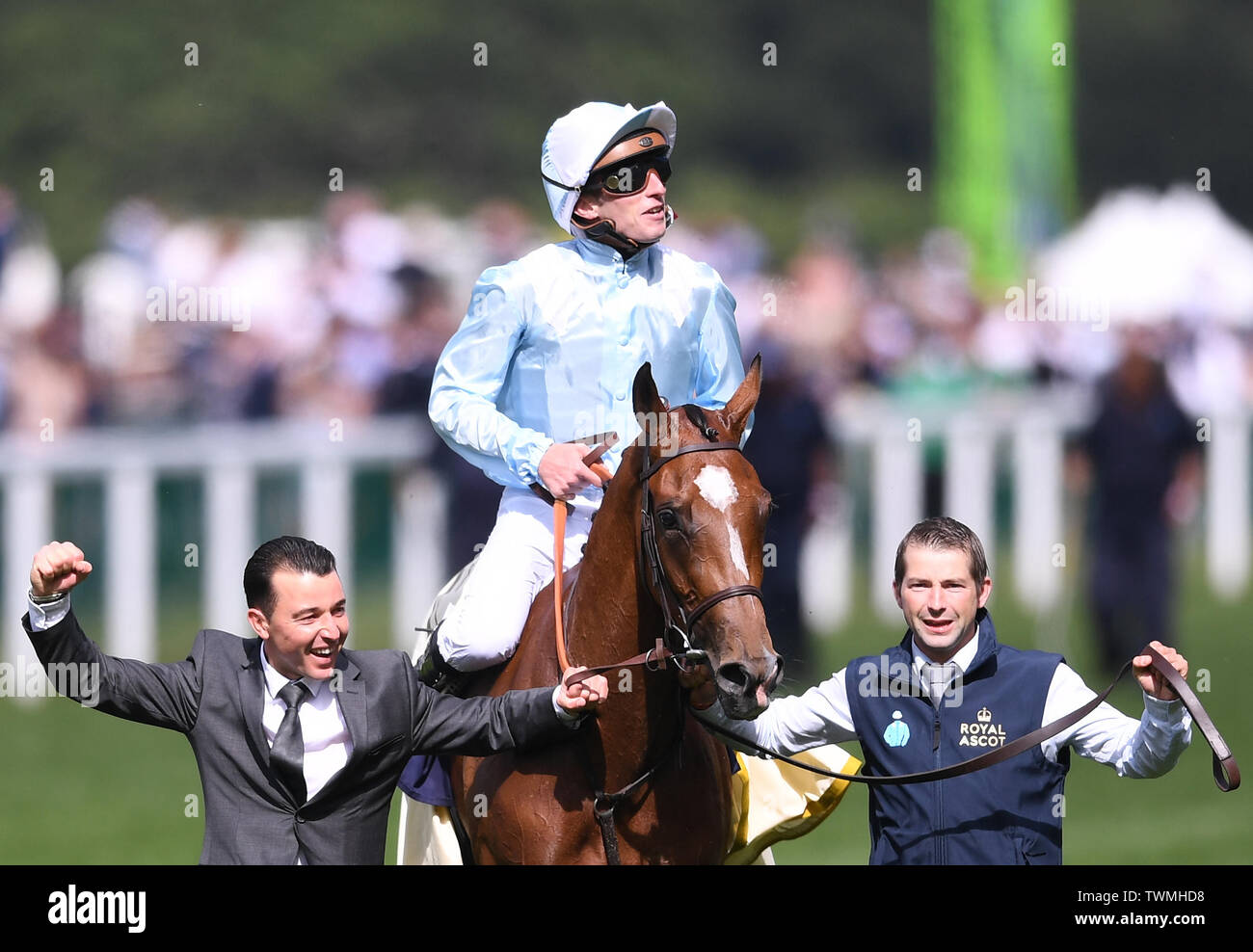 Ascot Racecourse, Windsor, UK. 21st June, 2019. Royal Ascot Horse racing; Race 4; Coronation Stakes; Watch Me Ridden By Pierre Charles Boudot Trained By F H Graffard wins The Coronation Stakes and Pierre Charles Boudot celebrates Credit: Action Plus Sports/Alamy Live News Stock Photo